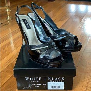 WHBM High heel platform black patent leather EUC